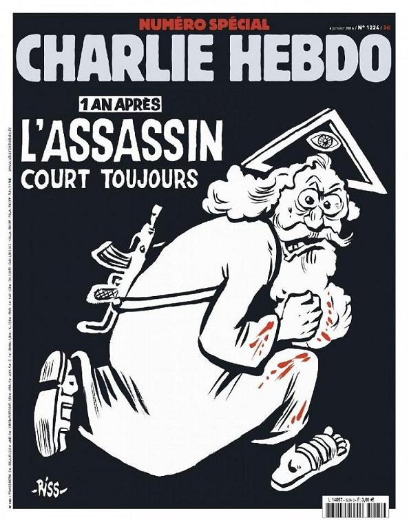 "The one year anniversary issue of Charlie Hebdo illustrates god and writes ""the killer still runs loose""."
