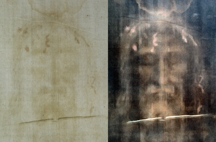 Photograph of the shroud on the left, digitally enhanced on the right – a hoax that dates 6 centuries (photo)