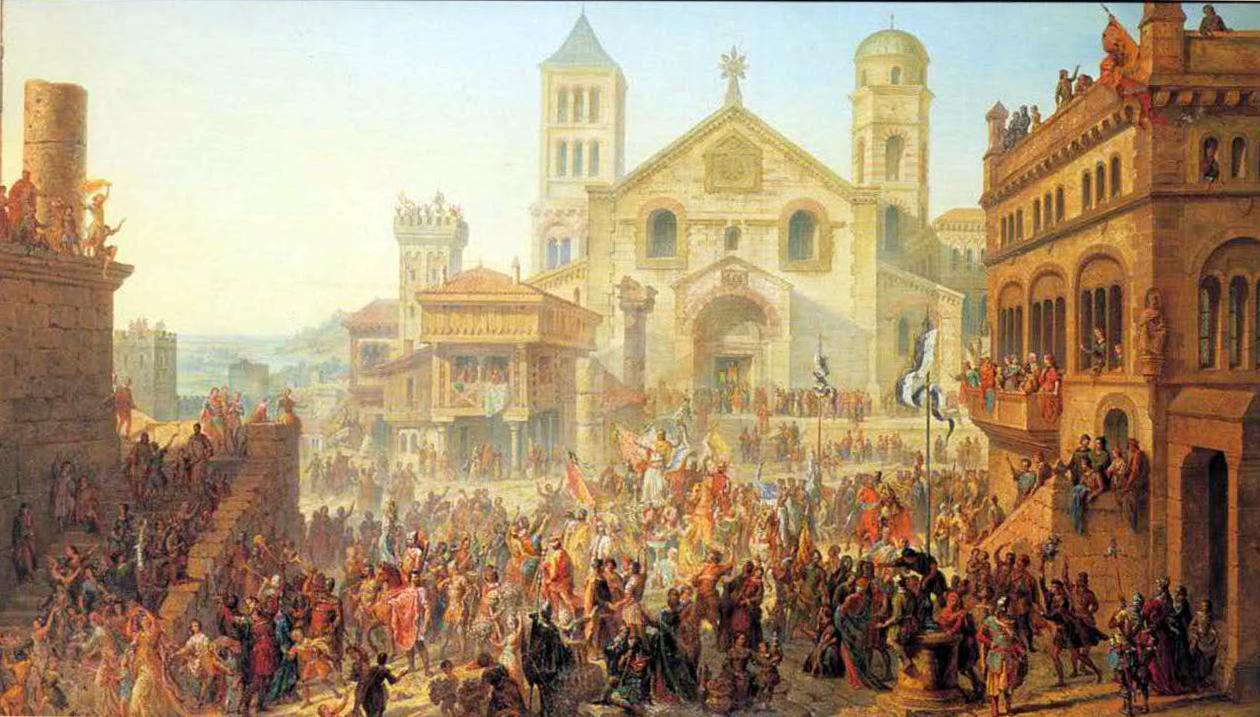 Beginning of the Republic of Metz. Election of the first Head-Alderman in 1289, by Auguste Migette