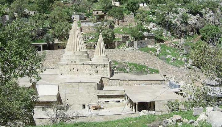 The tomb of the saint Sheikh Adi ibn Musafir in Lalish, north of Mosul in Iraq, a pilgrimage destination