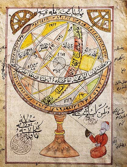 An astronomer calculates the position of a star using an astrolabe (photo)
