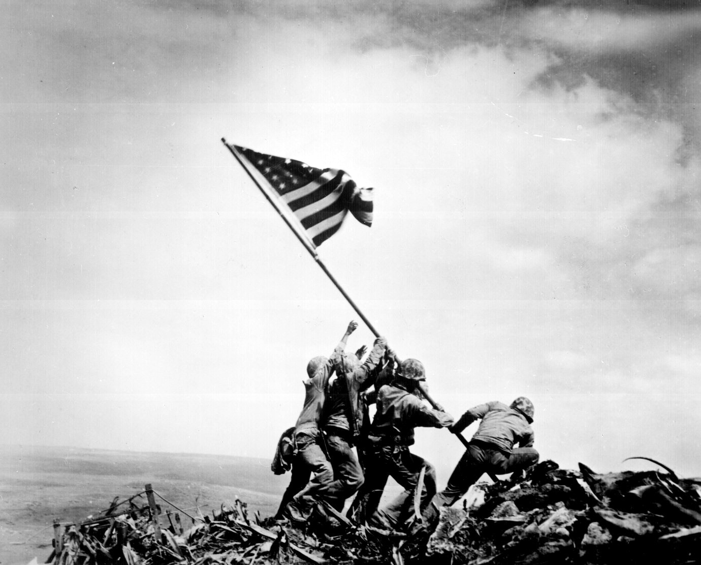 The staged photograph after taking Iwo Jima (photo)