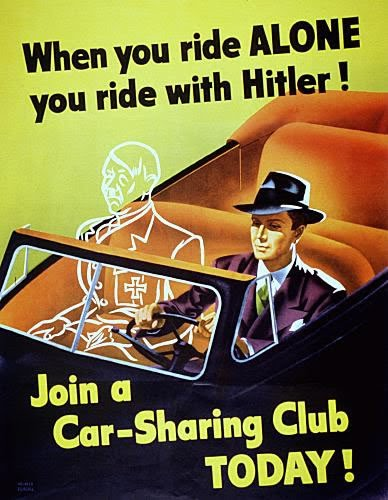 Not carpooling was considered a waste of fuel and a detriment to the war effort (photo)