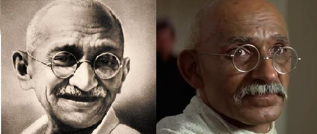 Mohandas Karamchand Gandhi (1869-1948) and Ben Kingsley in the 1982 movie (photo 1 and 2)