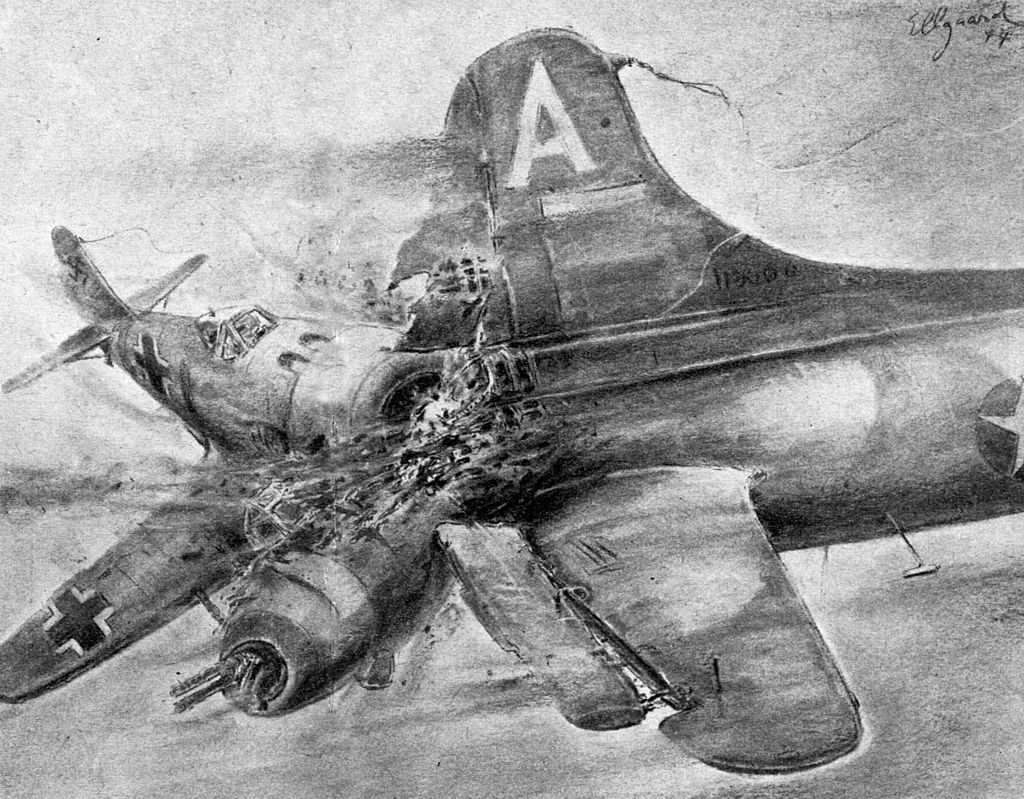 Ramming depiction by Helmuth Ellgaard, 1944 (photo)