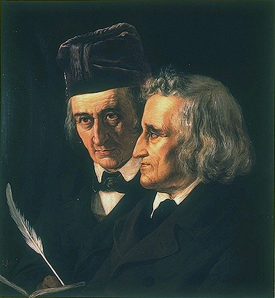 Wilhelm Grimm (on the left) and Jacob Grimm (on the right) on a 1855painting by Elisabeth Jerichau-Baumann (photo)