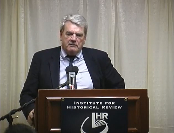 David Irving talks at the Institute for Historical Review, which promotes Holocaust denial, in 2005 (photo)