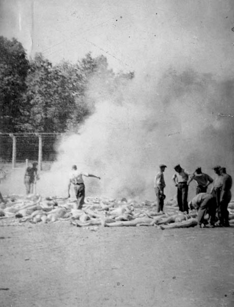 Photographs of dead bodies burning in Auschwitz, taken in secret by a Greek Jew (known only as Alexander) (photo)