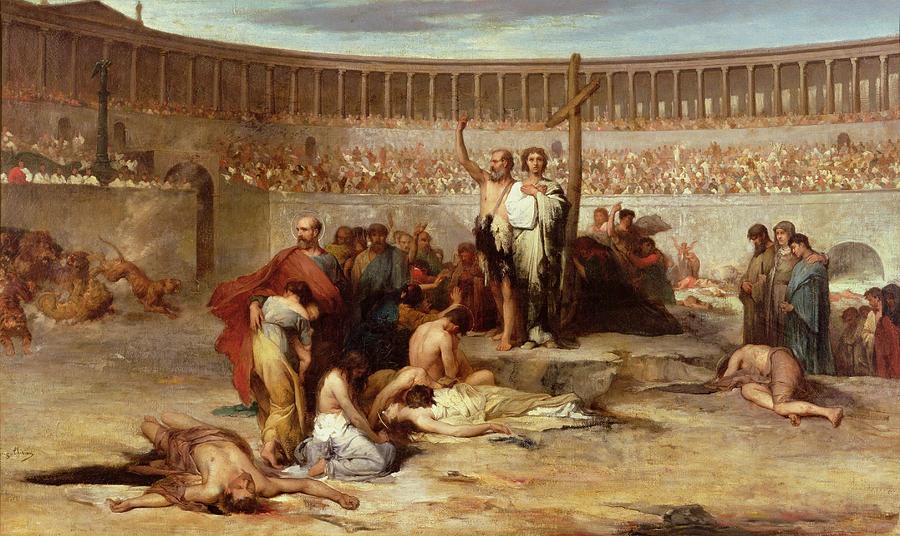 """Triumph of Faith Christian Martyrs in the Time of Nero"" by Eugene Romain Thirion. The Colosseum was built 16 years after the Great Fire of Rome. (photo)"