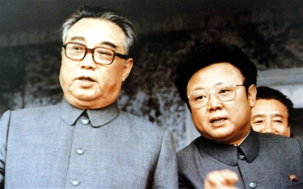 Kim Is Sung with his son, Kim Jong Il, in 1983 (photo)