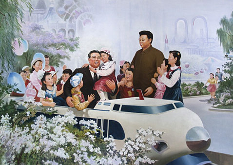 Kim Il Sung (Great Leader) and Kim Jong Il (Dear Leader) on a poster in Pyongyang in 2010. (photo)