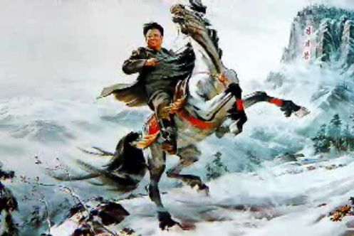 The military leader Kim Jong Il stands strong even against the elements. (photo)