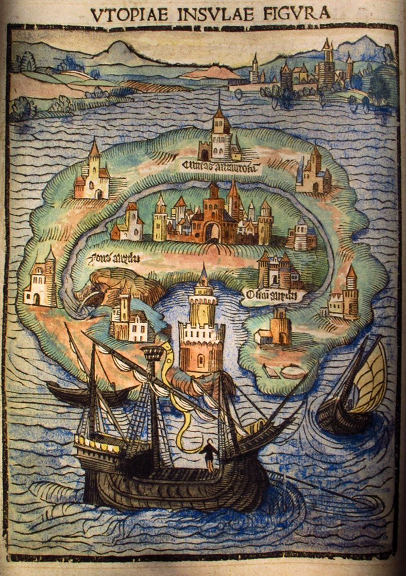 Depiction of Utopia island, in the original edition of 1516 (photo)