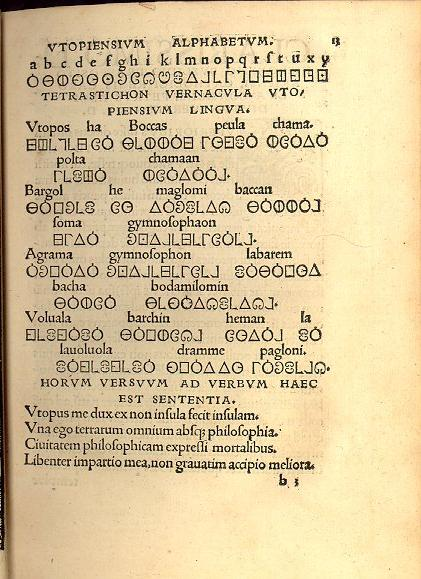 A sample of Utopia's alphabet, as imagined by More's friend, Peter Giles, in the 1518 edition (photo)