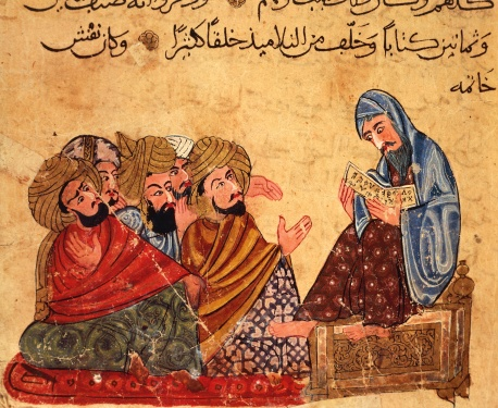 Socrates discussing philosophy with his disciples, Arabic miniature from a manuscript, Turkey 13th Century.