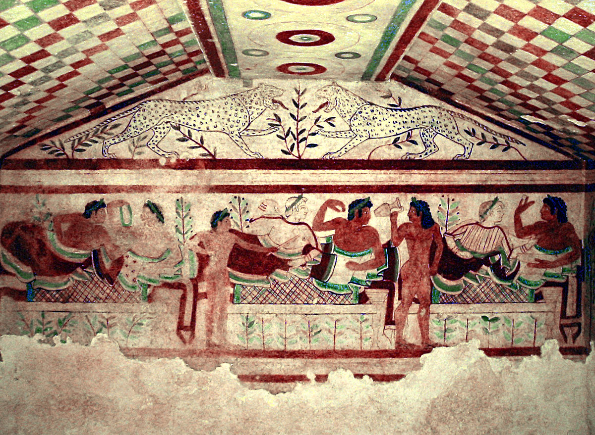 Painting of a Symposium found at the Tomb of the Leopards in Etrusca, 480-450 BC