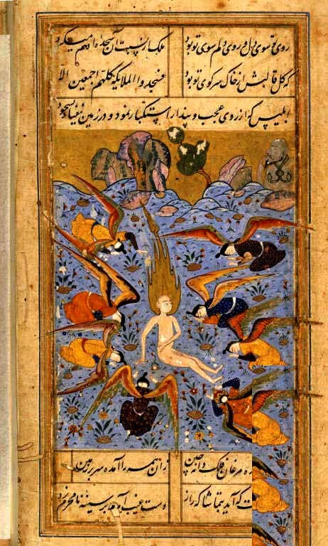 16 British library Iranian Angels around Adam Description: Angels paying homage to Adam watched by Iblis (Satan). A miniature painting from a sixteenth century manuscript of Majalis al-'ushshaq ('The Assemblies of the Lovers'). Title of Work: Majalis al-'Ushshaq. Author: Kamal al-Din Husayn Gazurgahi Illustrator: - Production: Shiraz, Iran, c.1560