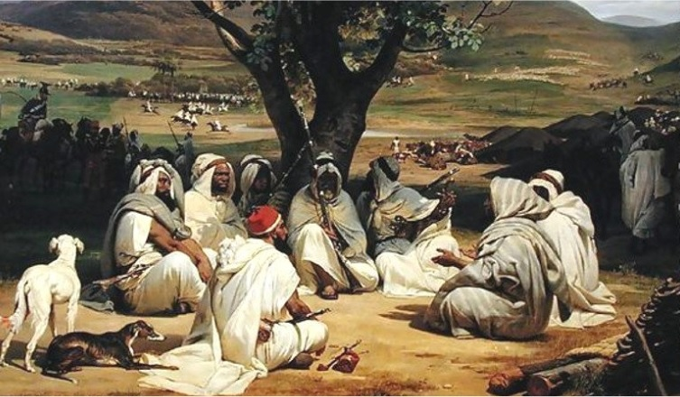 """""""Meeting of Arab Chiefs"""", by the French painter Jean-Horace Vernet (1789 – 1863 AD) (source)"""